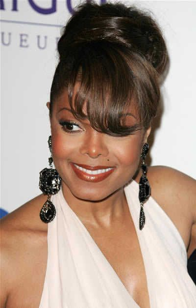 Updo Hairstyles Janet Jackson Updo Hairstyle With Bangs Grammy