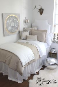 Neutral Dorm Room Bedding | Grey, Pottery and Girl dorms