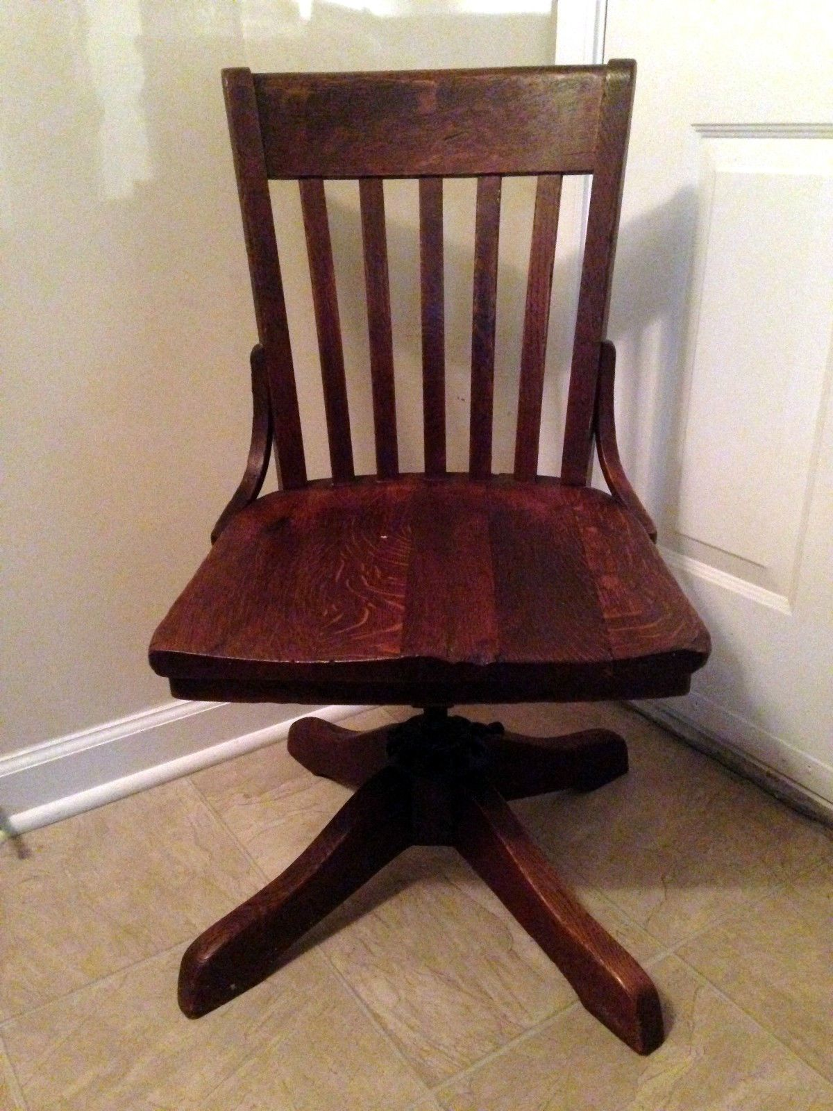 Wood Bankers Chair 1914 Antique Milwaukee Chair Co Wood Oak Bankers Office