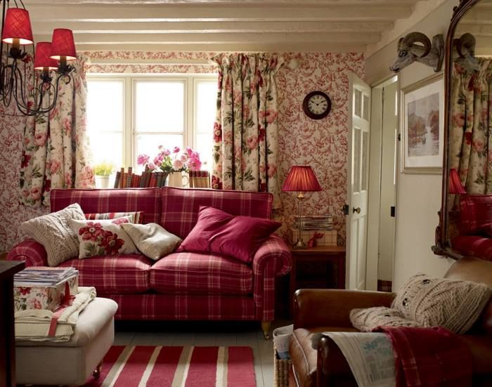 English Country Living Room With Painted Beamed Ceiling