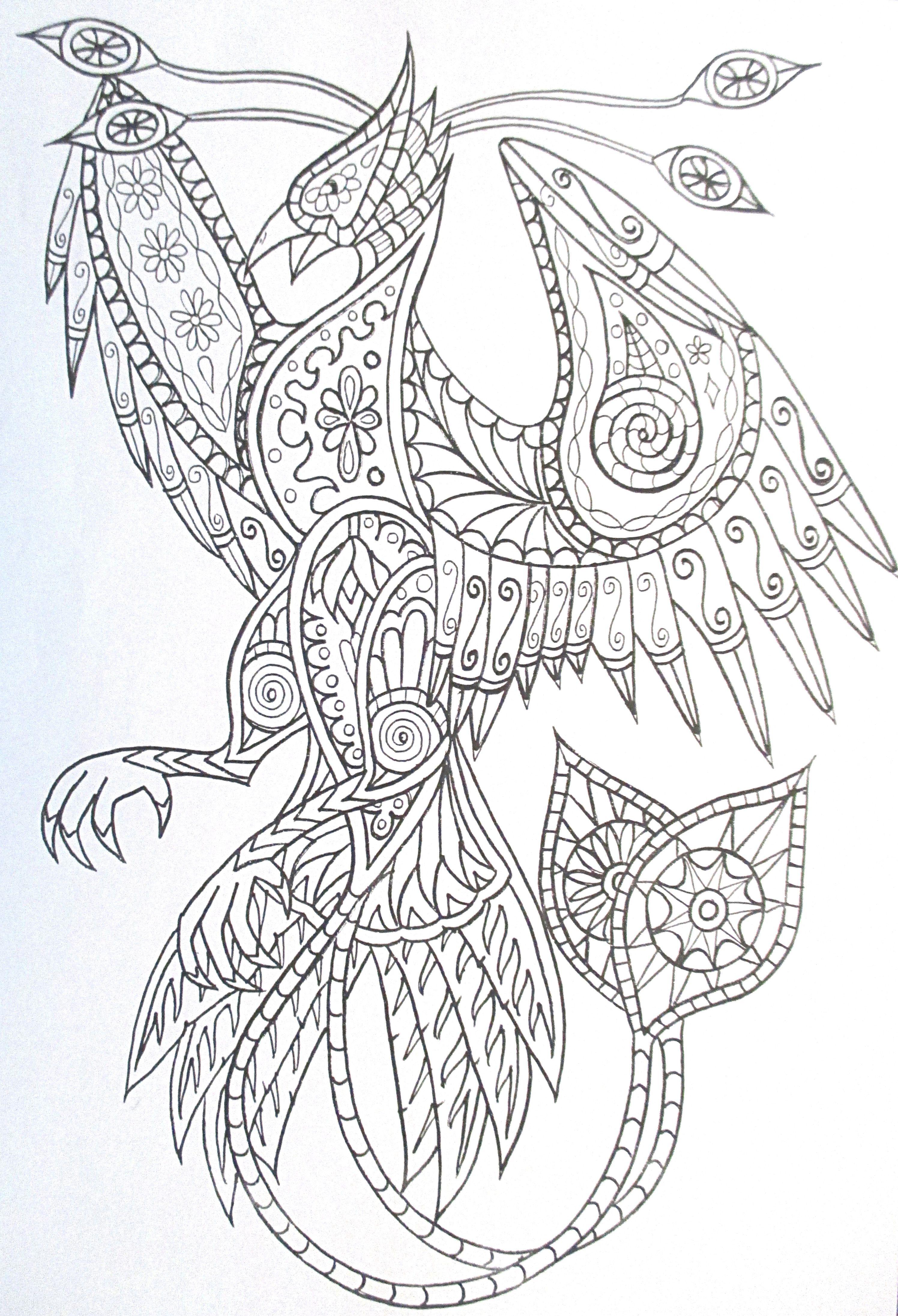 Steampunk phoenix coloring page printable adult Kleuren