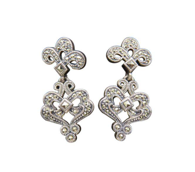 Judith Jack Pierced Earrings Chandelier Art Deco Sterling Silver Marcasite 191g