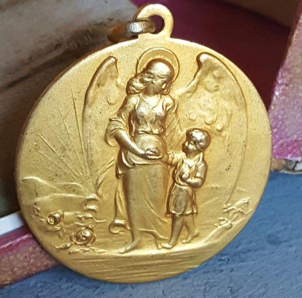 Vintage French Guardian Angel Medal Medallion Pendant