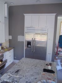 Kitchen: Gray walls White cabinets...I love the way these
