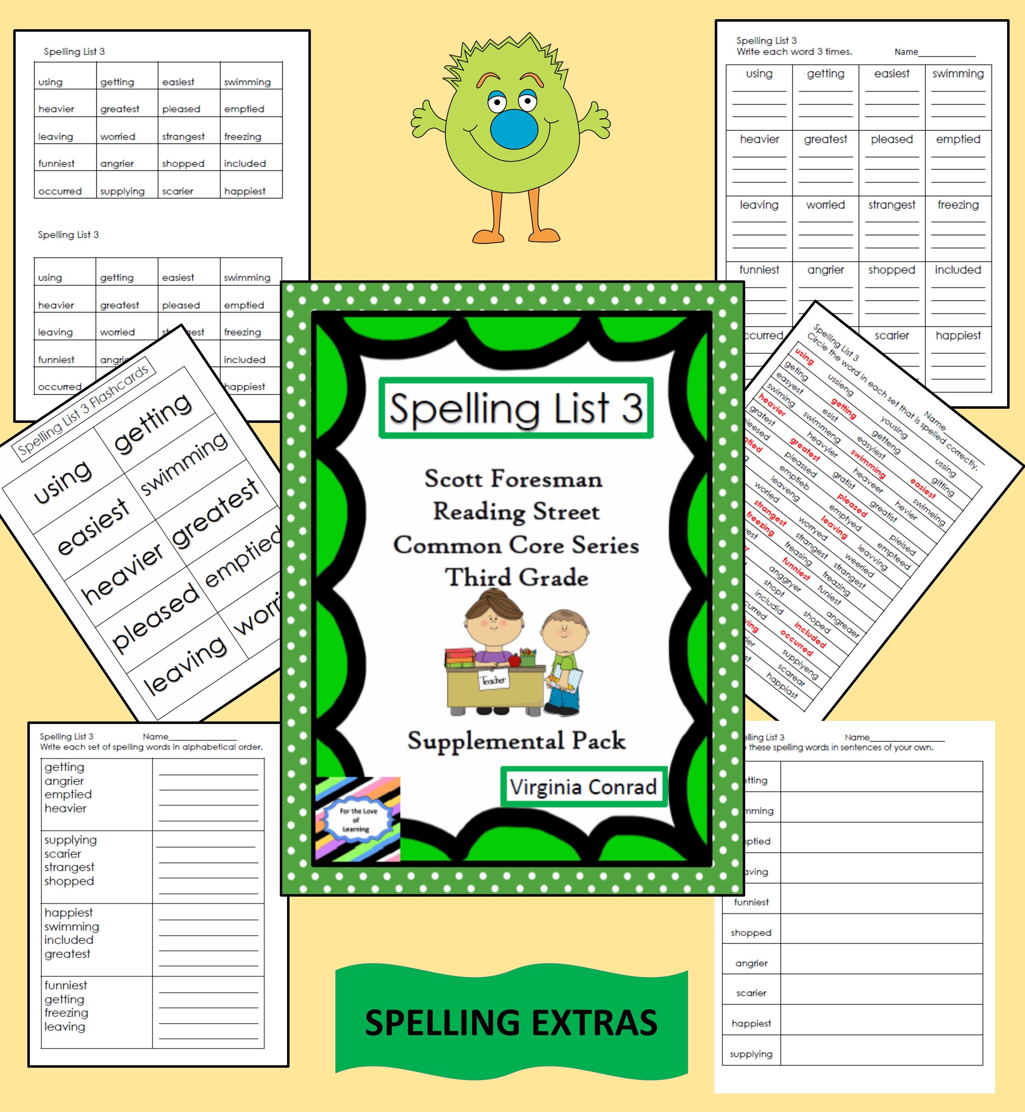 Supplemental Spelling Materials Reading Street Grade 3