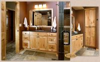 This inviting guest bath features Showplace hickory in a ...