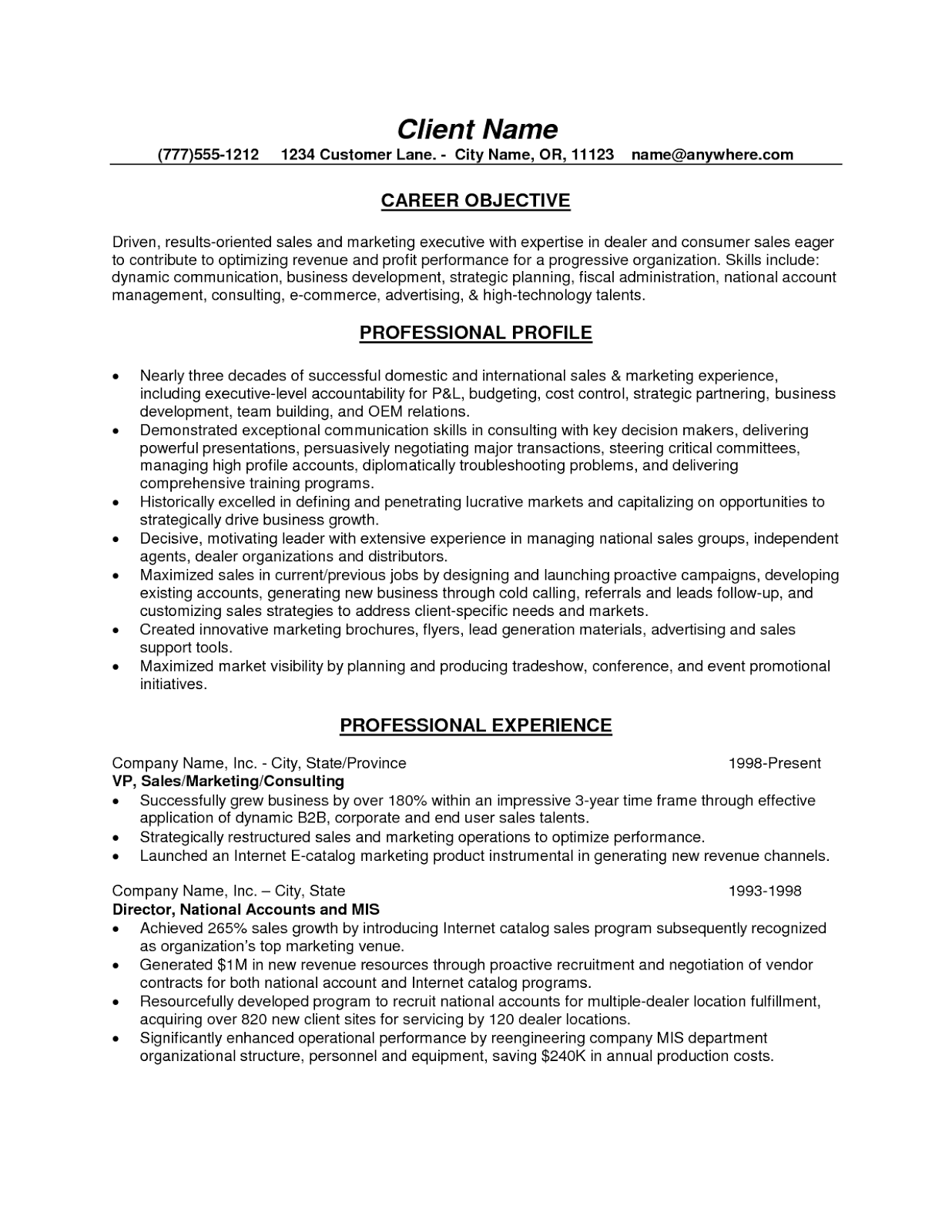 Resume Objective Examples Sales - Examples of Resumes