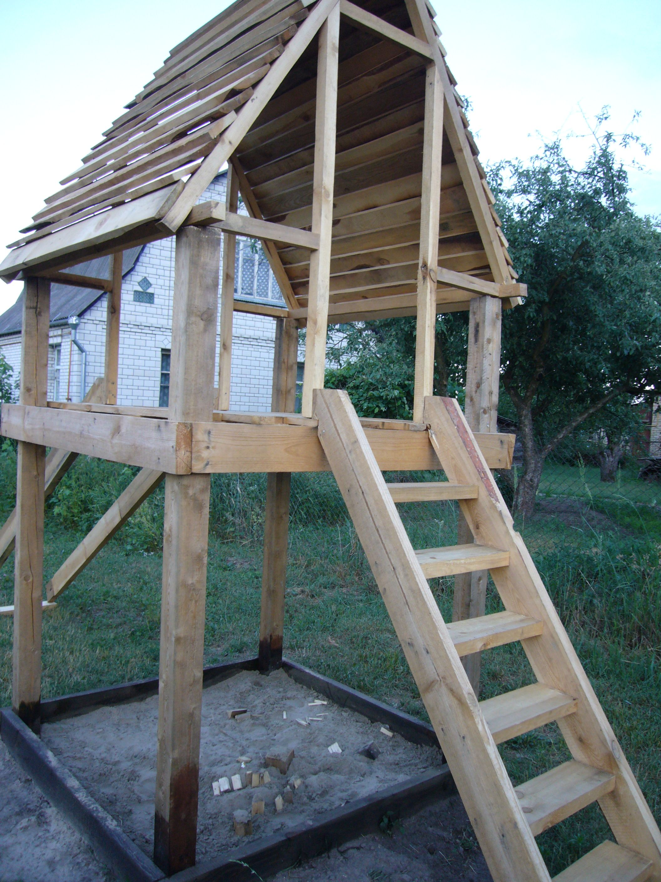 DIY Project Playhouse With Slide Wood Playhouse