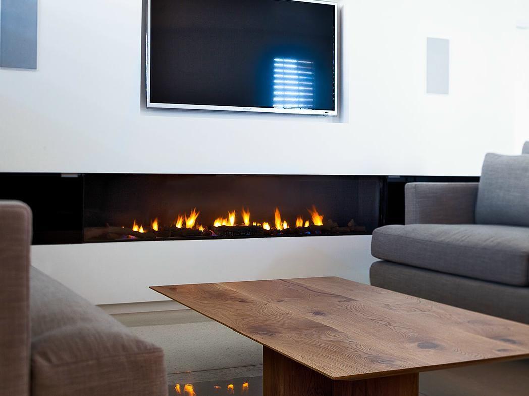 Stunning Rectangular Long Gas Fireplace Design Set On