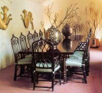 McGuire Furniture, 1980s, M111 side chairs & M112 host ...