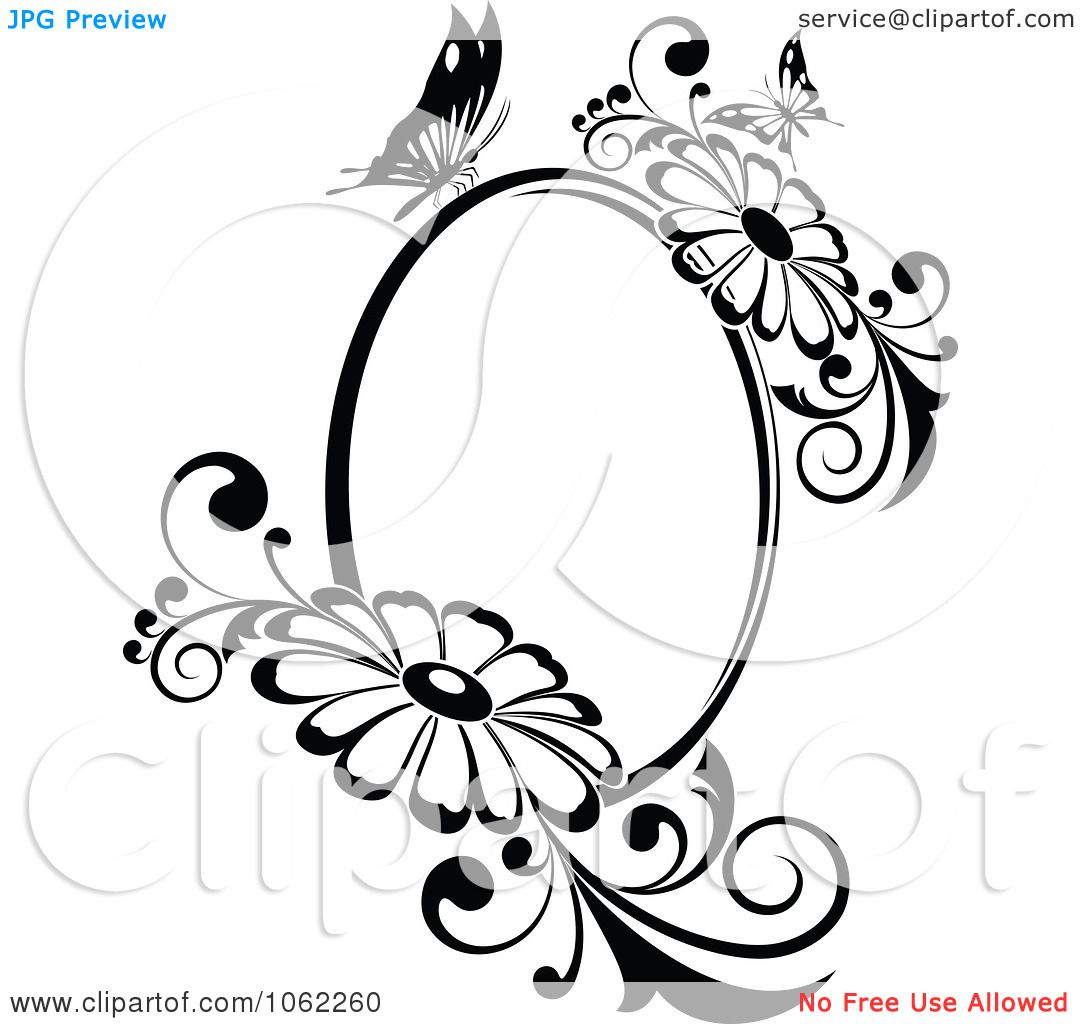 Clipart-Butterfly-Daisy-Frame-In-Black-And-White-Royalty