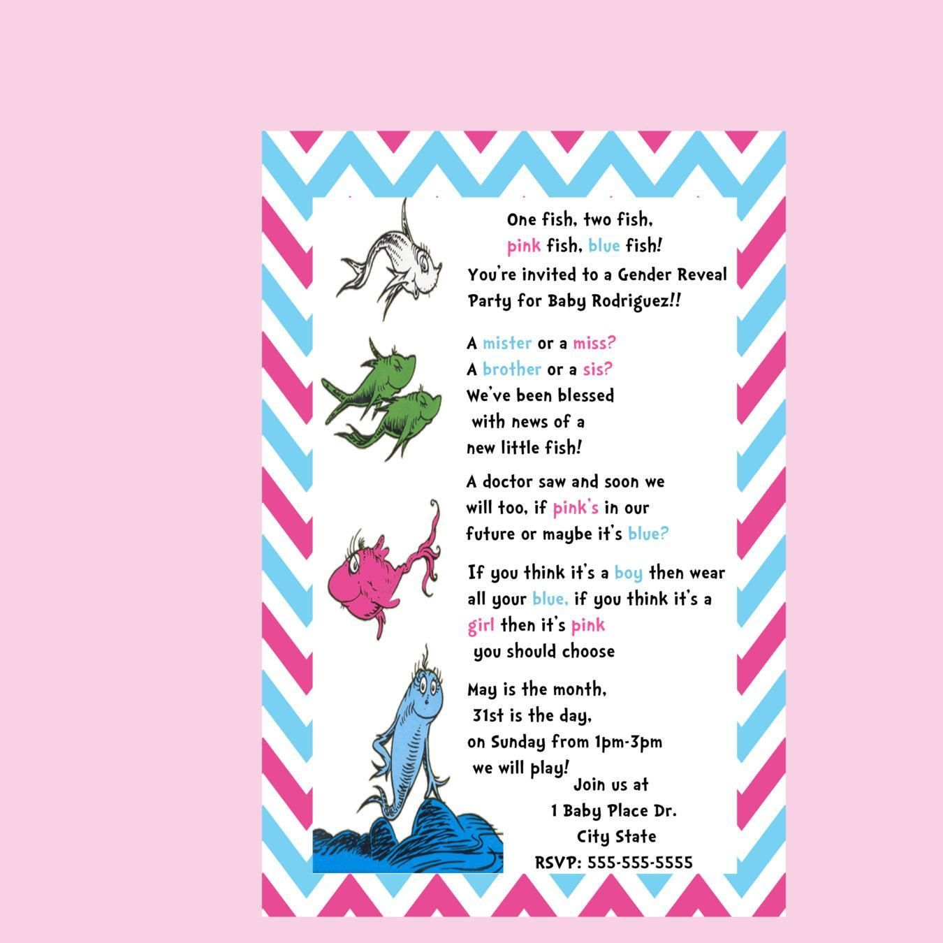 Dr Seuss Gender Reveal Invitation One Fish Two Fish Printable Or Printed Pink And Blue