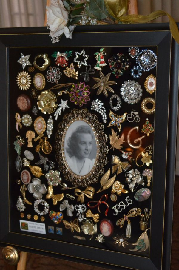 Display in Shadow Box Jewelry Brooches