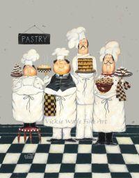 Fat Chefs Art Print, chef paintings, art, kitchen art wall ...