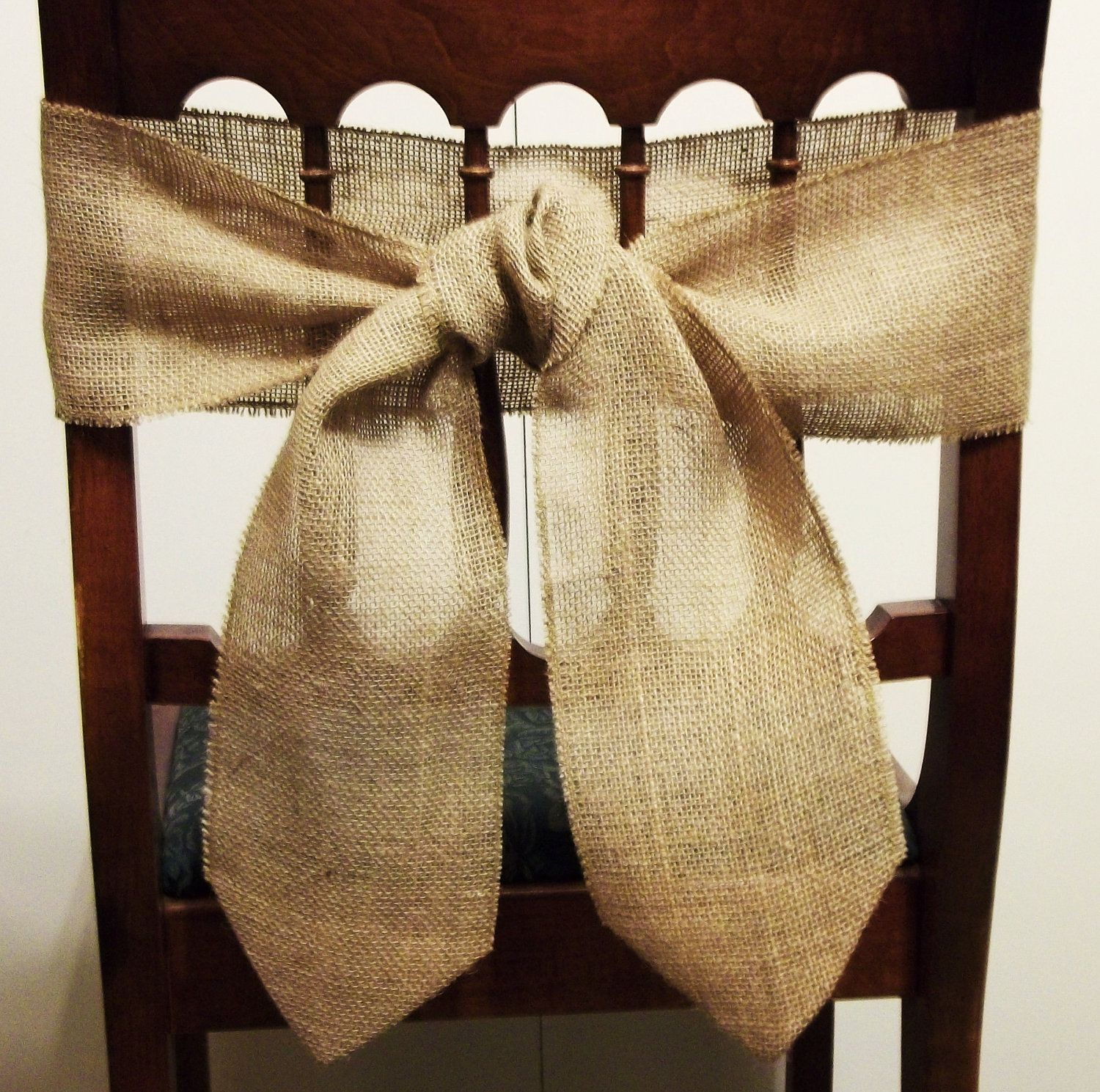 burlap chair sashes graco high tray 10 back ties wedding home decor