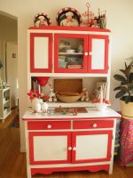 Red and white Hoosier kitchen cabinet.The link has its ...