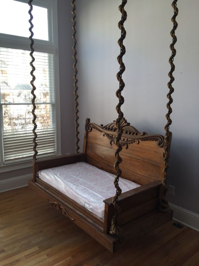 Viverito Project Custom Porch Swing Made From A Full Size Antique Bed Standard Crib