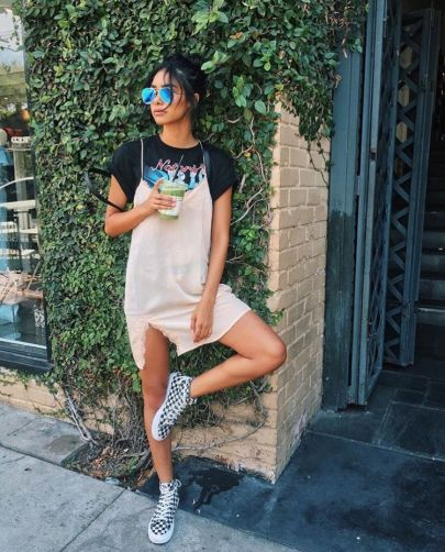 Wearing a graphic shirt is perfect ways to wear slip dresses!