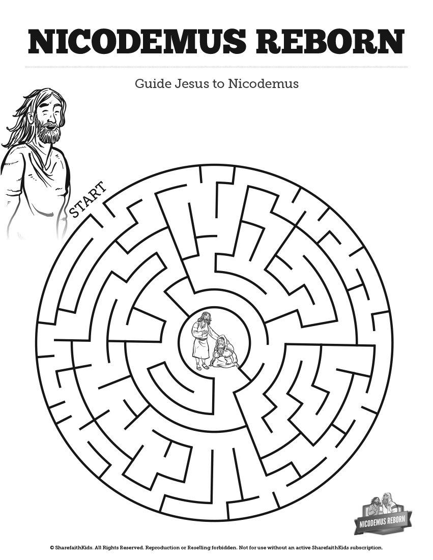 John 3 Nicodemus Bible Mazes: Your kids are going to love