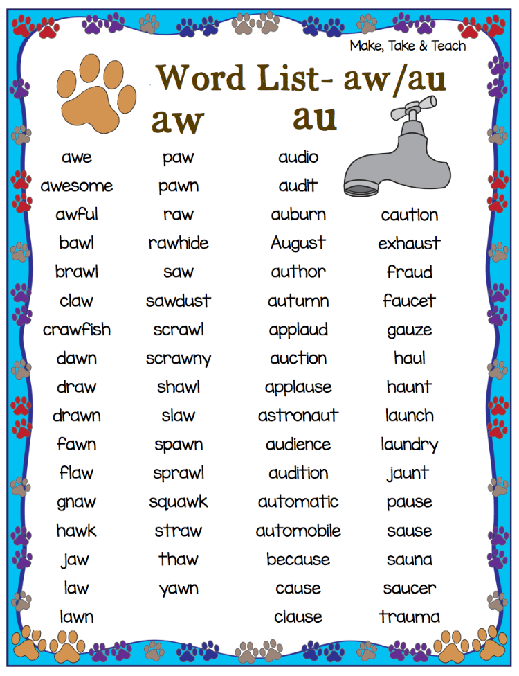 FREE Au Aw Word List And 11 Interactive Activities For