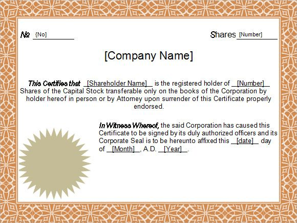 Sample stock certificate free download yadclub Gallery