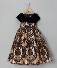 Black and Gold Toddler Dresses   Black & Gold Damask ...
