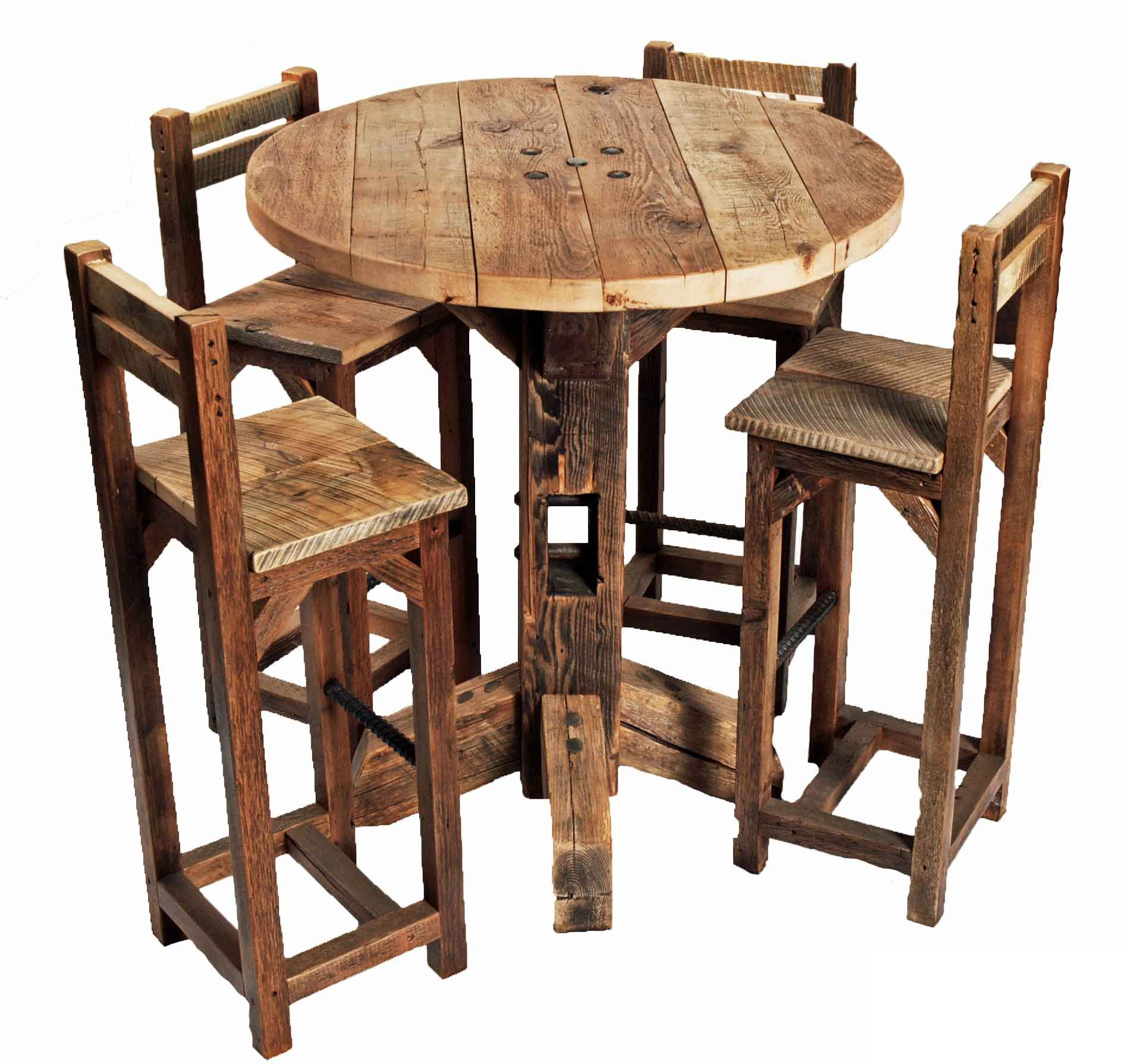 kitchen table with bench and chairs garbage disposal furniture old rustic small high round top