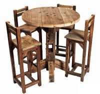 Furniture, Old Rustic Small High Round Top Kitchen Table
