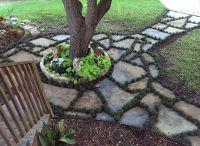 Flagstone Walkway edged with Dwarf Mondo Grass ...