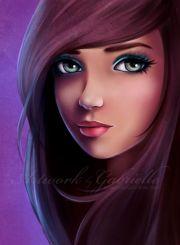 brown hair girl illustration
