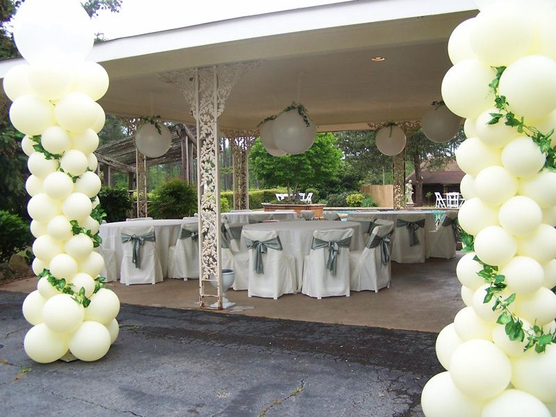 White And Emerald Green Theme Wedding Decoration Balloons