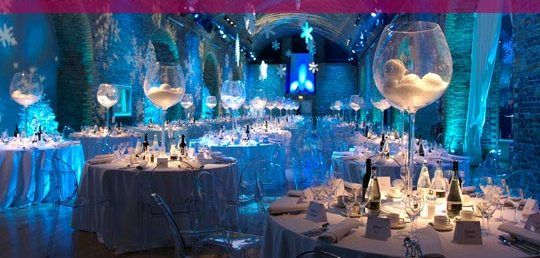 love the large glass centerpieces disco balls instead christmas party