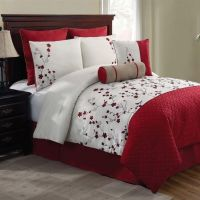 NEW Bed Bag Queen King 5 pc Red White Floral Comforter ...