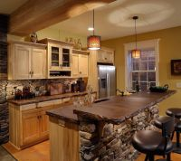 Outstanding Rustic Kitchen Island Table with Natural Stone ...