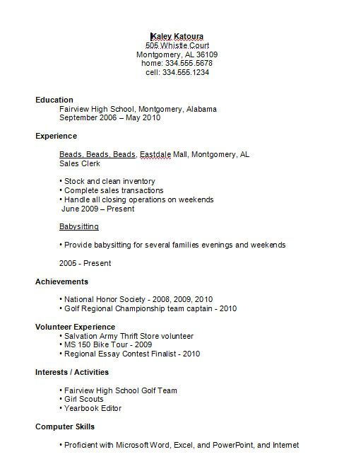 Example Of A High School Student Resume High School Student