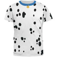 Dog Dalmatian Costume Blue Collar All Over Adult T-Shirt ...