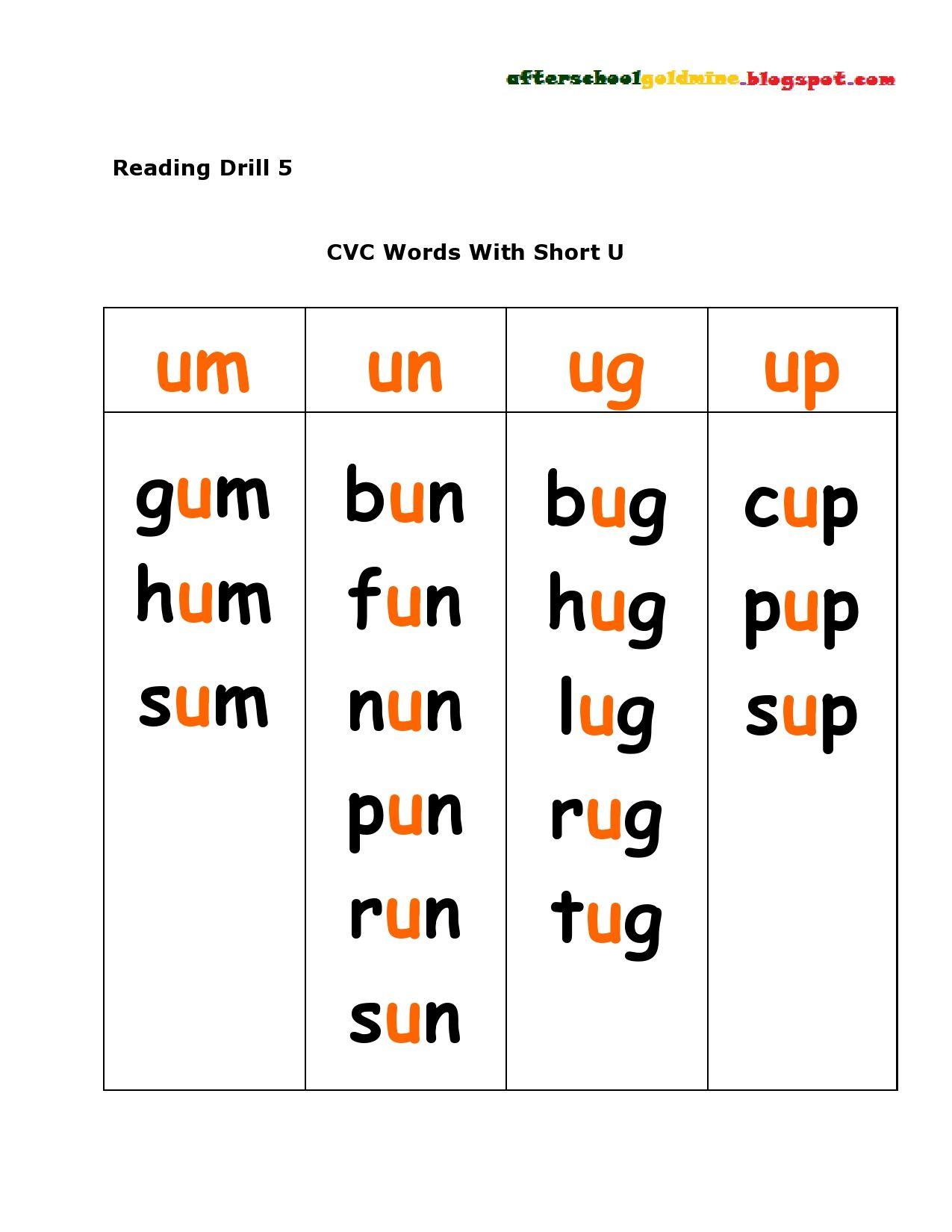 Reading Cvc Short U