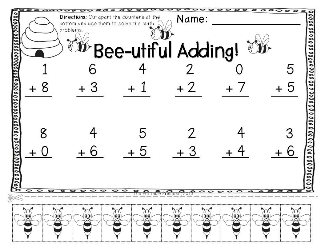 Addition Amp Subtraction Practice Pages With Cut Apart Counters Vertical Edition