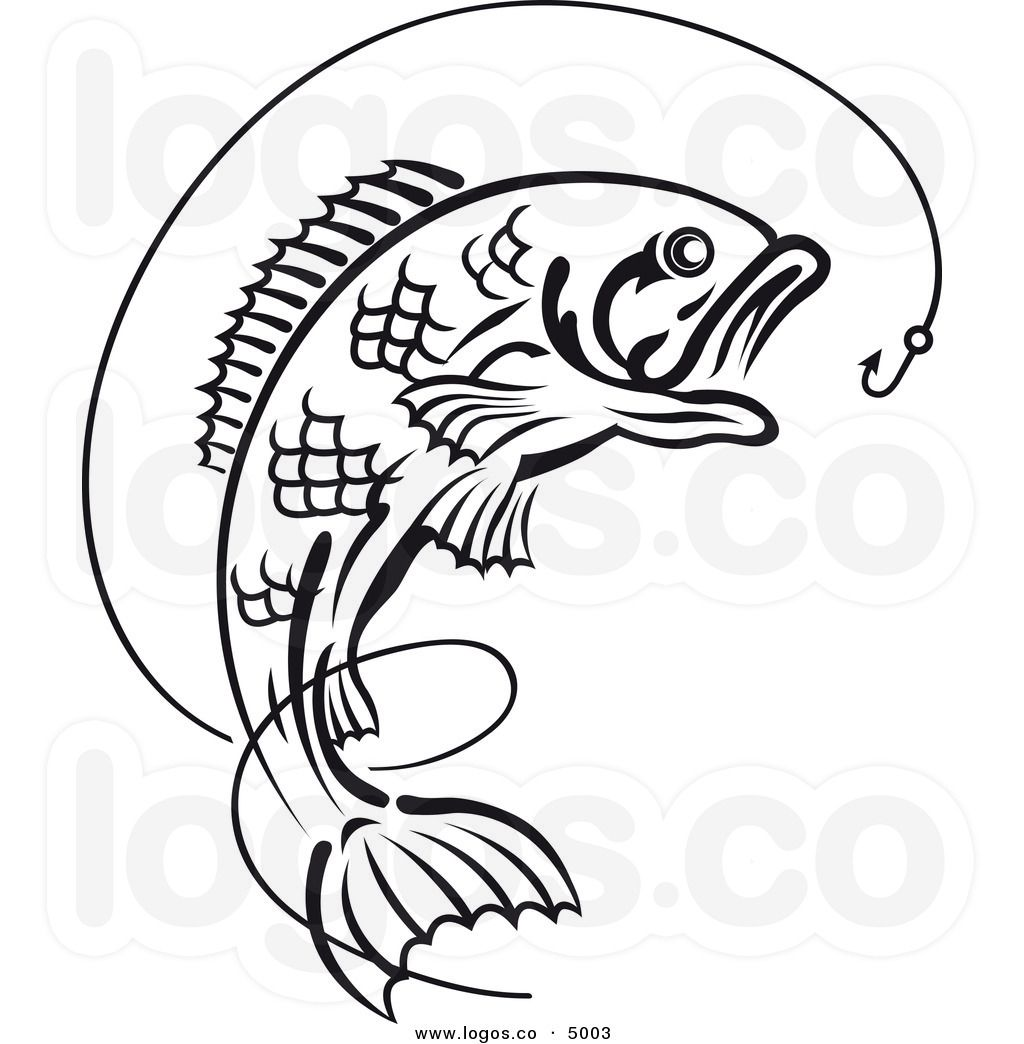 royalty-free-vector-of-a-black-and-white-leaping-fish-and