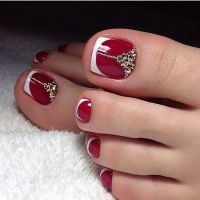 Red French Toe Nails Wowww | TOE NAIL ART | Pinterest ...
