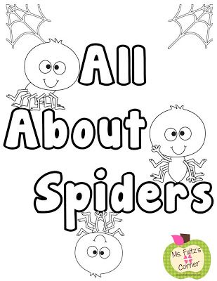 Free spider coloring sheet or report cover from Ms. Fultz