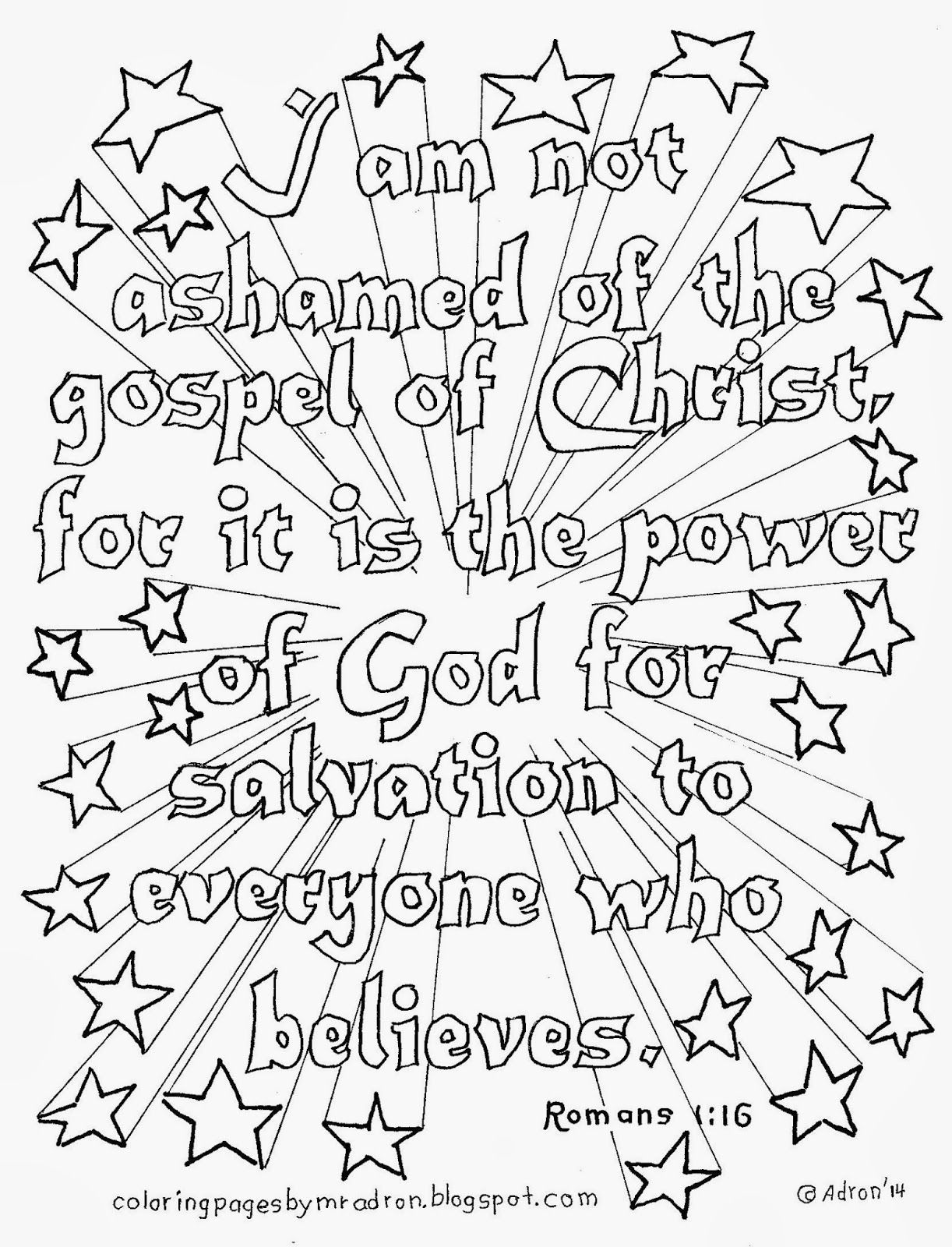 Romans 1:16 coloring page, see more at my blog. http