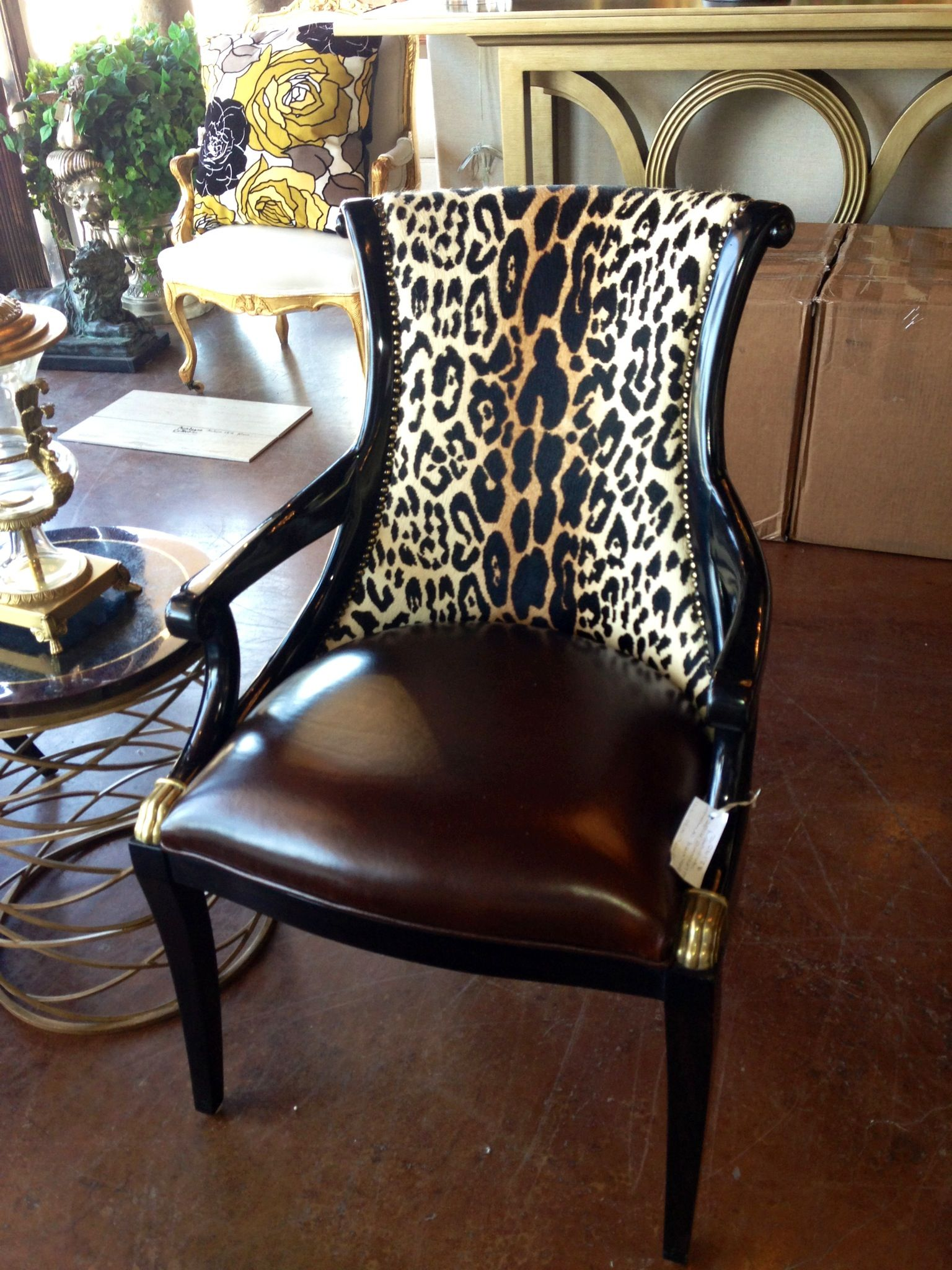 tiger print chair office in olx brittnay blake interiors houston animal leather