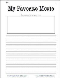 My Favorite Movie Free Printable Writing Prompt Worksheet