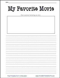 My Favorite Movie Free Printable Writing Prompt Worksheet ...