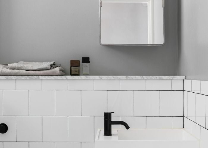 Black matte tap in  white and grey bathroom trendy with also