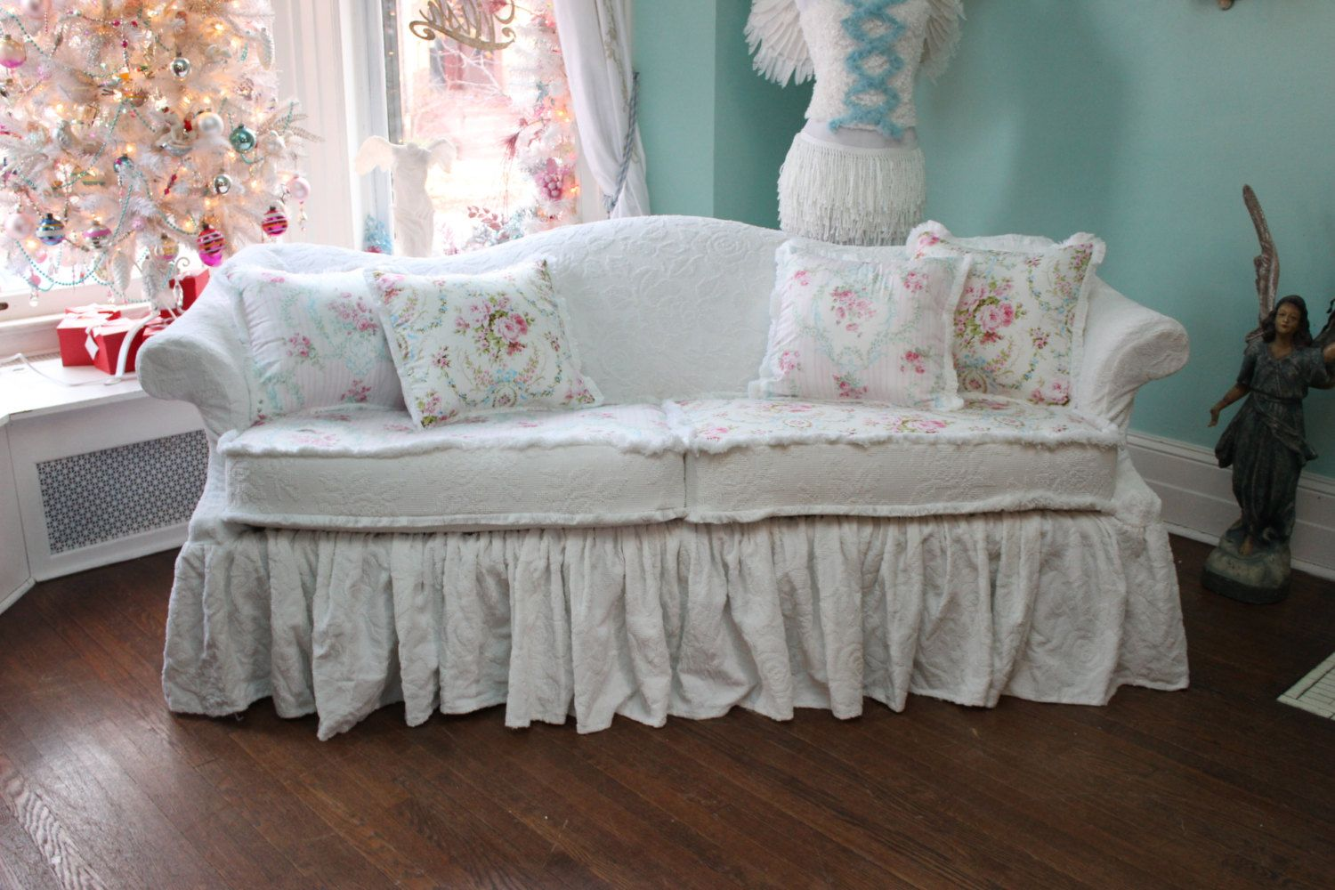 beach house sofa slipcover costco ca table shabby chic couch ruffle roses white by