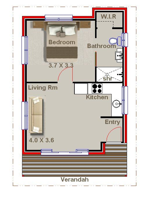 1 Bedroom Home Office Sleep Out Studio Granny Flat Plans