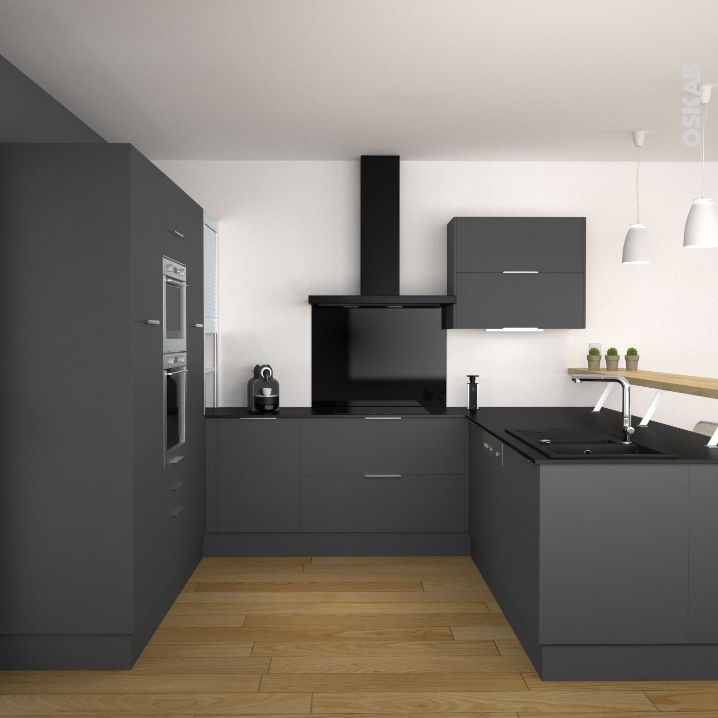 Cuisine grise porte effet soft touch GINKO Gris mat  Graphite Doors and Kitchens