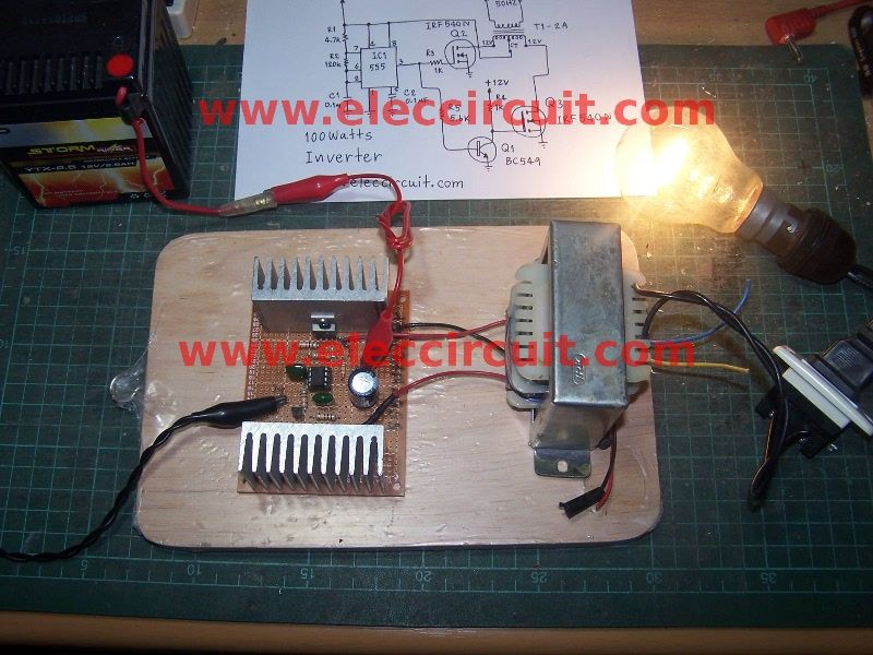 Simple Circuit Schematic 100w Inverter Using Ic Cd4047 And Mosfet